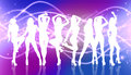 Group of silhouette girls dancing on the nightclub background Stock Images