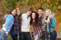 Group Of Six Teenage Friends Having Fun Stock Photography