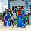 Group of skydivers preparing to fly. Royalty Free Stock Photo