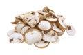 Sliced Baby Bella Mushrooms on White Royalty Free Stock Photo
