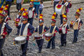 Group of small children Marching Band in Uniforms - Antigua, Guatemala Royalty Free Stock Photo