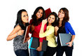 Group of smiling female Asian friends/students Royalty Free Stock Photo