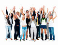 Group of smiling friends waving their arms Royalty Free Stock Photography