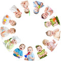 Group of smiling kids babies children arranged in circle Stock Photos