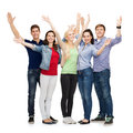 Group of smiling students waving hands education and people concept standing and Stock Photo