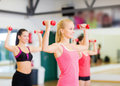 Group of smiling women working out with dumbbells fitness sport training gym and lifestyle concept in the gym Stock Photography