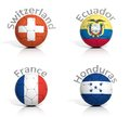 Group of soccer balls switzerland ecuador france honduras Stock Photo