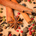 Group of spices cinnamon pepper and anise star Royalty Free Stock Photography
