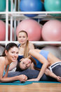 Group of sportive women have a rest Stock Photos