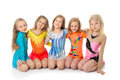 Group of sporty little girls in gym Royalty Free Stock Photo