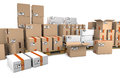 Group of stacked cardboard boxes on wooden shipping pallets are Royalty Free Stock Photo
