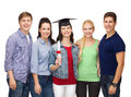 Group of standing smiling students with diploma education and people concept and corner cap Stock Photography
