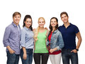 Group of standing smiling students education and people concept Stock Image