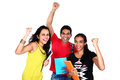 Group of students celebrating success excited people smiling and looking at camera with hands up isolated on white background Royalty Free Stock Images