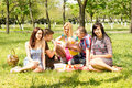 Group of students enjoying a summer picnic sitting together on rug on lush green grass amongst woodland trees Royalty Free Stock Images