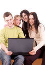 Group of students with laptop on white Royalty Free Stock Photography