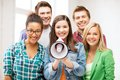 Group of students with megaphone at school education concept Royalty Free Stock Photography
