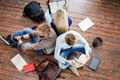 Group of students reading books, writing in notebooks Royalty Free Stock Photo