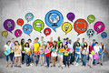Group of students with speech bubble bubbles Royalty Free Stock Photo