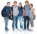 Group of students standing with bags Stock Image