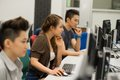 Group students working computer class Royalty Free Stock Image