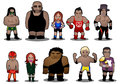 Group of superstar wrestlers illustration Stock Photography
