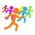 Group of symbolic human figures running for the leader Royalty Free Stock Photo