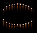 Group tapered candles form candle light circle curve Royalty Free Stock Photography