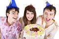 Group of teen with cake celebrate happy birthday. Royalty Free Stock Photo