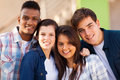 Group teenage friends of cheerful closeup portrait outdoors Stock Images