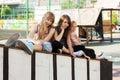 Group of teenage girls on the playground school Stock Photos