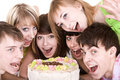 Group of teenagers celebrate birthday. Royalty Free Stock Images