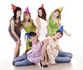 Group of teenagers celebrate birthday. Stock Photography