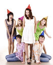 Group of teenagers celebrate birthday. Royalty Free Stock Photos