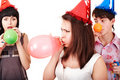 Group of teenagers celebrate birthday. Royalty Free Stock Photo