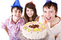 Group of teenagers celebrate happy  birthday. Royalty Free Stock Image