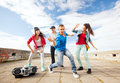 Group of teenagers dancing sport and urban culture concept Royalty Free Stock Image