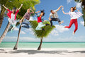 Group of teenagers jumping summer sport dancing vacation and teenage lifestyle concept Stock Photography