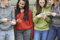 Group of teenagers sharing text message on mobile phones Royalty Free Stock Photos