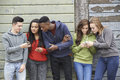 Group of teenagers sharing text message on mobile phones outdoors Stock Images