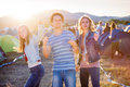 Group of teenagers at summer music festival, sunny day Royalty Free Stock Photo