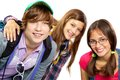 Group of teens cute looking at camera with smiles Royalty Free Stock Photography