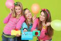 Group Teens party gifts  Stock Images