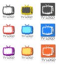 Group of television logo designs nine different tv with place for words or text Stock Photo