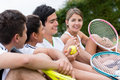 Group of tennis players happy at the court Stock Photography