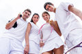 Group of tennis players looking happy and smiling Stock Images
