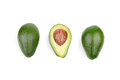 A group of three fresh avocados, isolated on a white background. Organic vegetables. Healthful lifestyle. Royalty Free Stock Photo