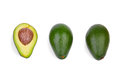 A group of three fresh avocados with a scratchy texture, isolated on a white background. Healthful lifestyle. Royalty Free Stock Photo