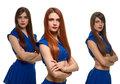 Group of three serious women. triplets sisters Royalty Free Stock Photo