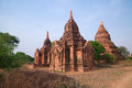 Group of Three Temples, Bagan Plain, Myanmar Stock Photo